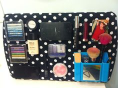 my version of the magnetic makeup board! (http://laurathoughts81.blogspot.com/2011/03/make-up-magnet-board.html)