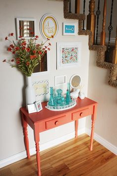 I LOVE all of this..the location, the quote hanging and of course the keys and refinished table! I have a table that could be painted almost exactly like this but it is a tiny bit smaller with one drawer.