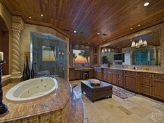 Probably the nicest view a master bath can have at this Gulf front home in Naples, FL.