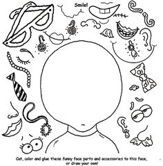 Create a Funny Face coloring page