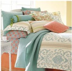 Aqua and coral with buttery walls - stays sophisticated by staying muted - too bold and it gets cartoony. Look at all the pretty fabric! decor, bedding, idea, coral bedroom, guest bedrooms, bedroom colors, guest rooms, blues, color scheme