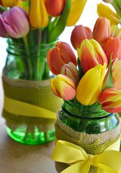 Spring tulip centerpiece