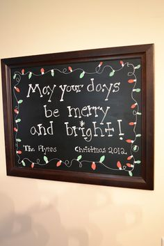 The the Christmas lights framing the chalkboard!