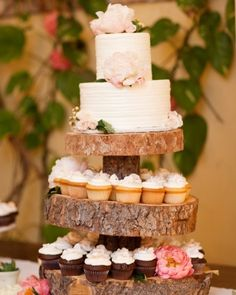 Creative Cake Combo OH MY GOSH!!! I love this idea!!!! A tier for cutting the cake, a tier for saving for the 1 yr anniversary and then serve cupcakes...plus I absolutely love the wood cake stand!!! :) Add the burlap and lace with flowers...YES!!! PLEASE!!! :)