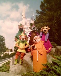 Vintage photo of Robin Hood, Little John, Friar Tuck, Prince John and the Sheriff of Nottingham at Walt Disney World