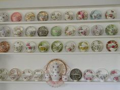 White shelves with display cup and saucers.