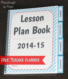 Awesome email subscriber freebie!! 77 page free lesson plan book for teachers. {Playdough to Plato}