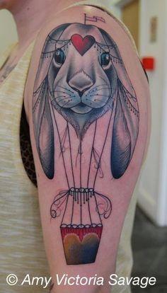 rabbit hot air balloon tattoo