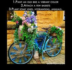Fun Garden Ideas – Turn an old bike into a garden flower decor piece