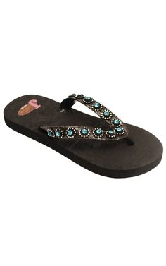 Justin Stace Ladies Black with Turquoise Jewels Flip-Flop
