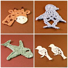 #HeritageHeartcraft RTS Sale- Appliques ~ Giraffe, about 3 inches tall. ~ Penguin, in light blue. ~ Airplane, in light green. ~ 2 Birds, in sparkle white. thread crochet