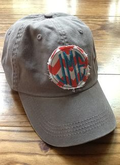 Ladies Monogrammed Hat by KBJsMonogram on Etsy, $20.00; except with light blue chevron! Sooo in love with this!