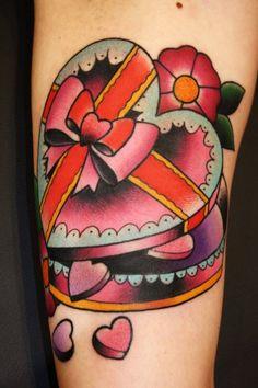 by Steve Jovic heart box, chocolates, steve jovic, box tattoo, candi, boxes, heart shapes, tattoo design, heart tattoos