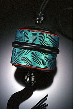 Gwen Gibson:- 2000 Inro Box Pendant (turquoise) inro box, box pendant, pendant turquois