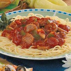 My favorite, spaghetti and hot italian sausage