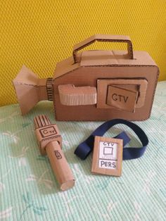 video camera made from cardboard boxes wrapped in paper