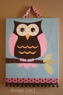 craft, mothers day, baby girl rooms, owl canva, baby girls, paint, owls, babies rooms, canvases