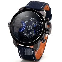 Military Watches with Japan Double-movt Three Small Decorating Hands Leather Band.