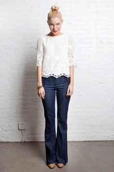 flare denim, outfit, beig pump, lace tops with jeans, lace top with jeans, red lips, white lace, casual fridays, boots