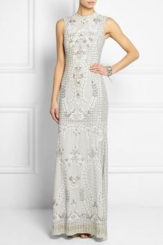 needle & thread | geo bead embellished tulle gown | net a