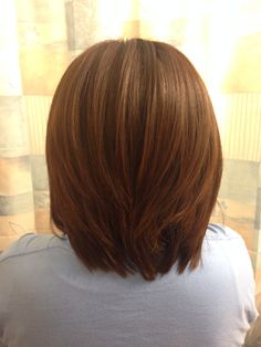 Medium hair with layers; I like this cut and color