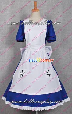 $88.00  Alice: Madness Returns Costume Alice Blue Dress  Include:Apron + Dress +Socks  Material:Uniform Cloth+ Cotton  Tailor-made, high quality,fit you best.