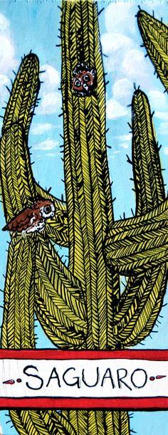 "Saguaro Mini Painting, cactus art, 3""x7"" illustration, southwest home decor"