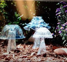 Glass mushrooms for your garden!