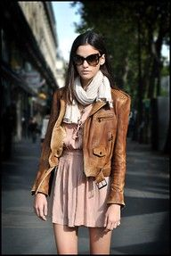 brown leather and pink