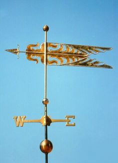 Decorative Banner Weather Vane #2 by West Coast Weather Vanes. This handcrafted Art Deco weathervane can be customized by using all copper, copper and brass, and/or add optional gold or palladium leaf.