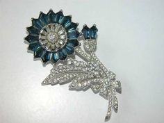 RARE Trifari A Philippe Invisible Set Crystal Sapphire Flower Rhinestone Brooch