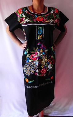 Mexican Black Dress Fantastic Colorful by madeintechnicolor, $39.00