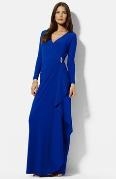 Lauren Ralph Lauren Embellished Side Drape Jersey Gown available at #Nordstrom