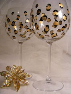 leopard wine glasses