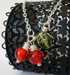 wire wrapped cherry necklace