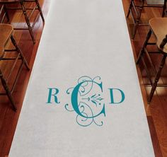 Deco Monogram Wedding Aisle Runner - This personalized aisle runner is customized with your monogram  in your choice of color.