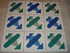 Set of 9 Blue and Green Airplane Quilt Blocks  by MarsyesQuiltShop, $13.95