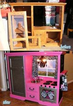 Old TV stand made into a play kitchen