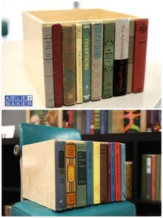 Book spines glued to a box make a nifty hiding place.