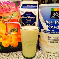 Mango protein shake:  8 oz unsweetened(!) vanilla almond milk, 1.5 scoops whey protein powder, about 8 frozen mango pieces (easy find at Trader Joe's) - Weeks 2 & 3