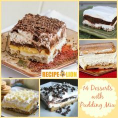 14 Pudding Cake Recipes and Other Recipes with Pudding Mix - Pudding Lust Cake, Vanilla Dreamboat Dessert, and Sex in a Pan Layered Dessert, and more!!