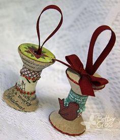 Wooden spool ornaments.