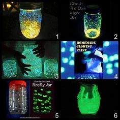 Glow in the dark jars for pretend galaxies