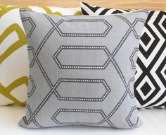 Gray dotted trellis dwell studio decorative by pillowflightpdx, $28.00