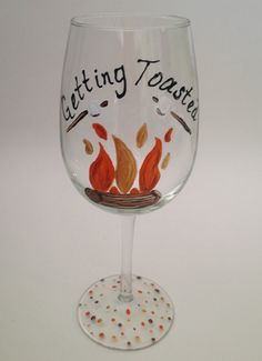 Annual Canoe Trip!! Might want to make these plastic though. Getting Toasted Campfire Hand Painted Wine by TheArtsyBohemian, $14.00