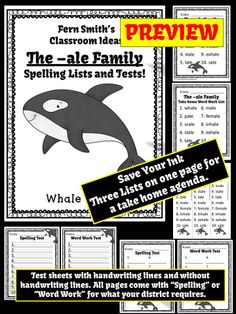Spelling The -ale Family Word Work Lists and Tests, Terrific Cute Whale Theme! #TPT $Paid