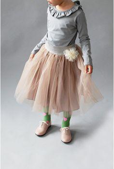 Ruffle collar girls' shirt and long tutu skirt - love this look!