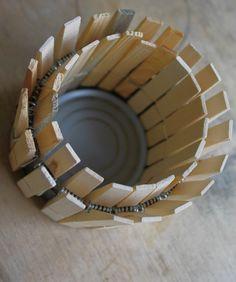 Clothes Pin Pot/Vase