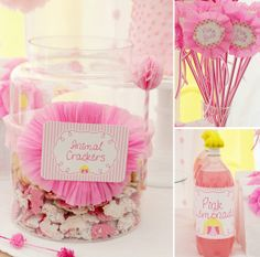 Girl Birthday Goodies - Frosted Animal Crackers Cookies and Pink Lemonade