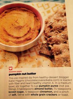 Pumpkin Nut Butter | from Family Fun Magazine, November 2014